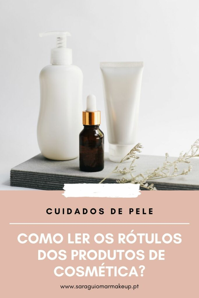Rotulos dos produtos de cosmética